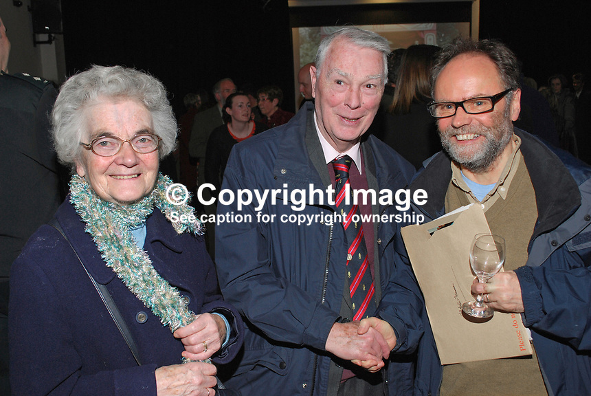 Malachi O'Doherty, Belfast, N Ireland, journalist, author, broadcaster, left, with Rev Martin Smyth, former Grand Master of the Orange Order and his wife. 201201205723.<br /> <br /> Copyright Image from Victor Patterson, 54 Dorchester Park, <br /> Belfast, UK, BT9 6RJ<br /> <br /> t1: +44 28 9066 1296 (from Rep of Ireland 048 9066 1296)<br /> t2: +44 28 9002 2446 (from Rep of Ireland 048 9002 2446)<br /> m: +44 7802 353836<br /> <br /> e1: victorpatterson@me.com<br /> e2: victorpatterson@gmail.com<br /> www.victorpatterson.com<br /> <br /> Please see my Terms and Conditions of Use at www.victorpatterson.com. It is IMPORTANT that you familiarise yourself with them.<br /> <br /> Images used on the Internet must be visibly watermarked i.e. &copy; Victor Patterson<br /> within the body of the image and copyright metadata must not be deleted. Images <br /> used on the Internet have a size restriction of 4kbs and will be chargeable at current<br />  NUJ rates unless agreed otherwise.<br /> <br /> This image is only available for the use of the download recipient i.e. television station, newspaper, magazine, book publisher, etc, and must not be passed on to any third <br /> party. It is also downloaded on condition that each and every usage is notified within 7 days to victorpatterson@me.com<br /> <br /> The right of Victor Patterson to be identified as the author is asserted in accordance with The Copyright Designs And Patents Act (1988).