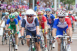 Mcc0041438 . Daily Telegraph..DT Sport..Team GB's Mark Cavendish finishes a disappointing 28th in the Olympic Mens Road Race ..Kazakhstan's Alexandr Vinokourov won Gold with Colombia's Rigoberto Uran, a Team Sky colleague of Cavendish's, following closely behind...28 July 2012.