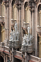 Cuba, Havana.  National Theater Building.  Designed by Belgian architect Paul Belau.  Inaugurated 1915.  Sculpture by Italian sculptor Giuseppe Moretti.