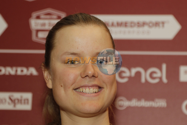 World Champion Amalie Dideriksen (DEN) Boels-Dolmans Cycling Team press conference held in Palazzo Sansedoni, Siena, Tuscany, Italy 3rd March 2017.<br /> Picture: Eoin Clarke | Newsfile<br /> <br /> <br /> All photos usage must carry mandatory copyright credit (&copy; Newsfile | Eoin Clarke)