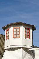 Wooden tower of a building in La Conner, Washington state, USA