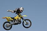 Motorcycle jump at the Rose Bowl