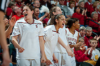 STANFORD, CA-JANUARY 28, 2011: Sara James and Erica Payne celebrate a Cardinal run during a 74-71 overtime win over the Cal Bears.