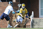 06 February 2016: Michigan's Kyle Jackson (CAN) (47) and North Carolina's Jake Matthai (6). The University of North Carolina Tar Heels hosted the University of Michigan Wolverines in a 2016 NCAA Division I Men's Lacrosse match. UNC won the game 20-10.