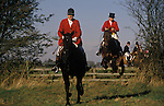 Jumping fences. Bevoir Hunt Leicestershire England.  Fox hunting with hounds