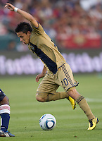 Philadelphia Union midfielder Roger Torres (20) with the ball moves to the goal. The Philadelphia Union and CD Chivas USA played to 1-1 draw at Home Depot Center stadium in Carson, California on Saturday evening July 3, 2010..