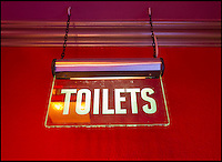 BNPS.co.uk (01202 558833)<br /> Pic: PhilYeomans/BNPS<br /> <br /> Original ABC Toilet sign.<br /> <br /> Field of Dreams....<br /> <br /> Film buff Andy Jones has built an ABC cinema in his back garden as a lasting tribute to the now defunct movie company.<br /> <br /> Andy, 38, has taken four and a half years and spent &pound;70,000 of his life savings building the 34-seat cinema from scratch.<br /> <br /> The father-of-two's movie house mirrors cinemas of the 1930s with big red curtains, red seats and a parquet floor in the projection room. <br /> <br /> The brick building, which is adorned with an ABC sign, is 40ft tall, 22ft wide and 20ft high and takes up half of the garden of his three bed semi-detached house.<br /> <br /> The theatre, which has a 17ft by 7ft screen, has its own projection room, black and white old-style toilets and a foyer with a concessions stand that offers popcorn and sweets.
