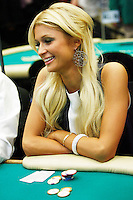 3 March 2007: Celebrity Paris Hilton playing a poker hand in action  during the fifth annual WPT Invitational at the Commerce Casino in Los Angeles, CA.