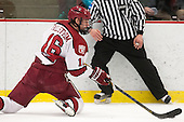 Alex Fallstrom (Harvard - 16) - The Harvard University Crimson defeated the Colgate University Raiders 4-1 (EN) on Friday, February 15, 2013, at the Bright Hockey Center in Cambridge, Massachusetts.