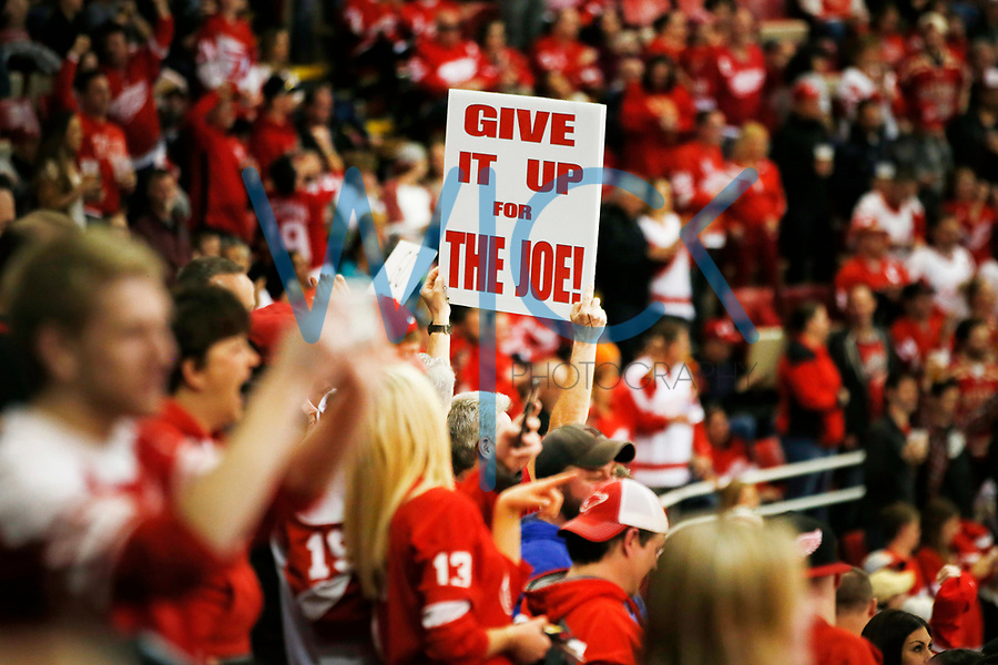 A Detroit Red Wings fan holds up a sign against the Montreal Canadiens during the game at Joe Louis Arena in Detroit, Michigan on Saturday April 8, 2017. (Photo by Jared Wickerham/The Players Tribune)