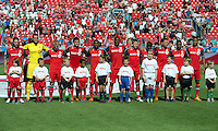 July 28, 2012: The Toronto FC during the national anthems in a game between Toronto FC and the Houston Dynamo at BMO Field in Toronto, Ontario Canada..The Houston Dynamo won 2-0.