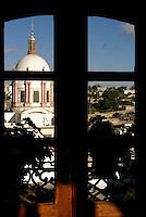 The dome of the Parroquia San Pedro church from the Posada de las Minas hotel in Mineral de Pozos, Guanajuato, Mexico