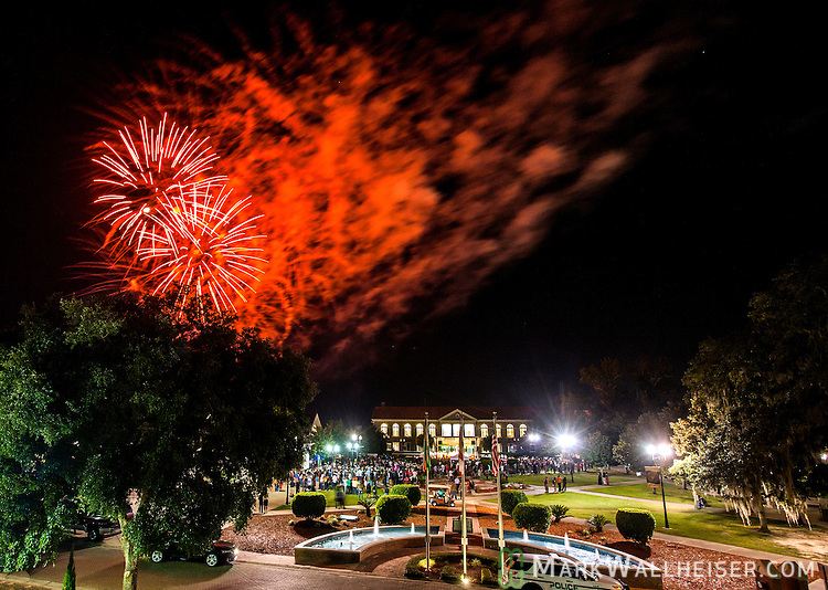 Fireworks explode over the Set during the Student Government Inaugural/Founders' Day kick-off party on the set at FAMU campus in Tallahassee, FL October 2, 2014.   The Founders' Day Kick-off was part 2014  Presidential Inauguration of Dr Elmira Mangum at FAMU's 11th president.