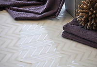 Raj, a handmade mosaic shown in honed Paperwhite and polished Cloud Nine is part of The Studio Line of Ready to Ship mosaics. All mosaics in this collection are ready to ship within 48 hours. <br />