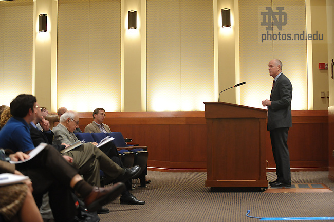 Kent Greenawalt, professor, Columbia Law School lectures on religion and the Constitution...Photo by Matt Cashore/University of Notre Dame