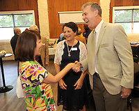 NWA Democrat-Gazette/ANDY SHUPE<br /> speaks Wednesday May 25, 2016, during a reception for Schload who was introduced as the new CEO of Mount Sequoyah Retreat and Conference Center in Fayetteville.