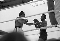 Ali vs Lewis Boxing at Croke Park.19/07/1972<br /> <br /> 19th July 1972, Mohammed Ali in action against Al Blue Lewis at Croke Park, Dublin, Ireland.<br /> <br /> `Al Blue Lewis at full stretch  the canvas after taking  thunderous left to the jaw from Muhammad Ali in the fifth round of their fight at Croke Park, Dublin, Ireland, in 19th July 1972.<br /> <br /> 19th July 1972, Mohammed Ali in action against Al Blue Lewis at Croke Park, Dublin, Ireland. <br /> <br /> Muhammad Ali was born Cassius Marcellus Clay Jr. at 6:35 p.m. on January 17, 1942 in Louisville, Kentucky.