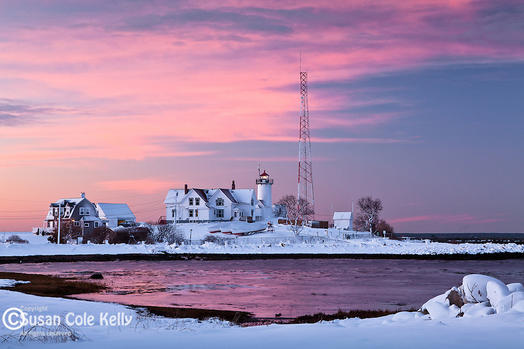 Fresh snow at Eastern Point Light in Gloucester, MA, USA
