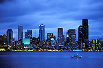Washington: Seattle.  Skyline at night.  Photo #: wawate103..Photo copyright Lee Foster, www.fostertravel.com, 510/549-2202, lee@fostertravel.com