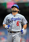 5 September 2011: Los Angeles Dodgers infielder Aaron Miles in action against the Washington Nationals at Nationals Park in Los Angeles, District of Columbia. The Nationals defeated the Dodgers 7-2 in the first game of their 4-game series. Mandatory Credit: Ed Wolfstein Photo