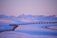 The Trans Alaska oil pipeline, James Dalton Highway, (haul road) Brooks range, Arctic, Alaska.