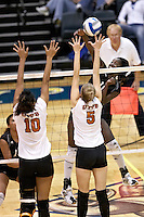 SAN ANTONIO, TX - NOVEMBER 9, 2007: The Texas A&M International University Dustdevils compete during Day 1 of the Heartland Conference Women's Volleyball tournament held at Bill Greehey Arena on the campus of St. Mary's University. (Photo by Jeff Huehn)