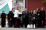Woodbury, CT-20 December 2012-122012CM04-  Mourners wait in line to pay their respects for Sandy Hook Elementary School behavioral therapist Rachel D'Avino, at Munson-Lovetere Funeral Home Thursday afternoon in Woodbury.   Christopher Massa Republican-American