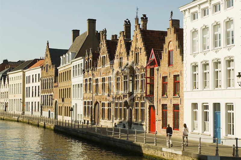 Belgium, Bruges, Old houses alongside canal