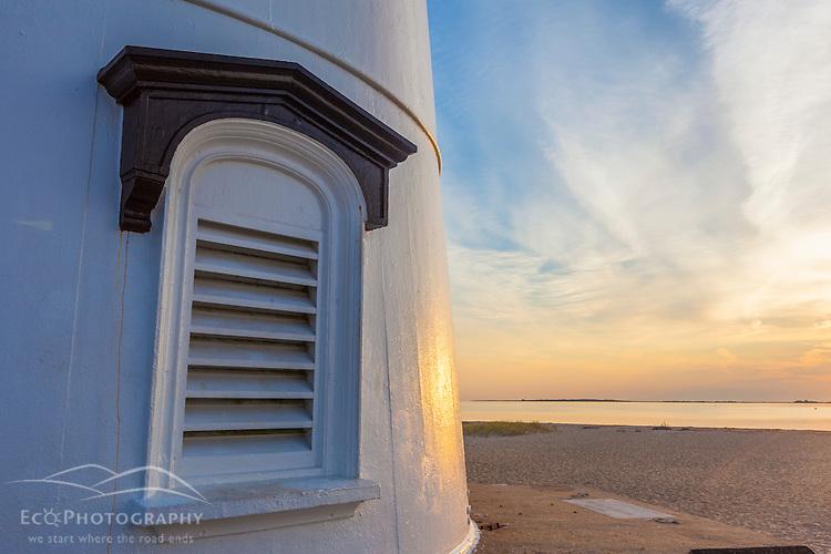 The base of the Edgartown Lighthouse in Edgartown, Massachusetts. Martha's Vineyard.