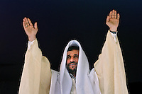 Iranian President Mahmoud Ahmadinejad waves to ethnic Arab supporters in the city of Susangerd in the coastal province of Khuzestan, dressed in traditional Arab clothing. As a way of attracting the numerous important minority groups in Iran to the Islamic Republic's Persian-dominated system, Ahmadinejad occasionally dons local costume in the places he visits.