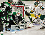 24 October 2015: University of North Dakota Goaltender Matt Hrynkiw, a Junior from Saskatoon, Saskatchewan, makes a third period save against the University of Vermont Catamounts at Gutterson Fieldhouse in Burlington, Vermont. North Dakota defeated the Catamounts 5-2 in the second game of their weekend series. Mandatory Credit: Ed Wolfstein Photo *** RAW (NEF) Image File Available ***