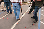 Empty shells litter the pavement left over from shotgun-toting locals gather at Mel's Drive-in restaurant to fire off rounds during Jackson, California's Serbian community celebrates Christmas on the Julian Calendar date of January 7.