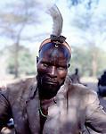 Turkana warrior and  headress.  Turkana.  Northern Kenya