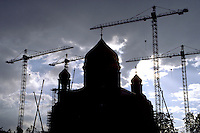 Construction of an Orthodox church, in Russia
