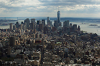 New York, USA. 23 April 2014. General view of Middle and Lower Manhattan form the Empire State Building in New York. Photo by Eduardo Munoz Alvarez/VIEWpress
