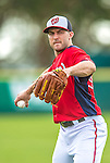 22 February 2013: Washington Nationals' infielder Stephen Lombardozzi warms up during a full squad Spring Training workout at Space Coast Stadium in Viera, Florida. Mandatory Credit: Ed Wolfstein Photo *** RAW File Available ***