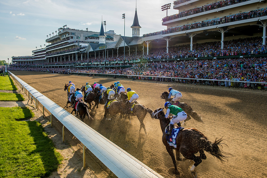 American Pharoah and Victor Espinoza run in the 2015 Kentucky Derby at Churchill Downs in Louisville, KY. (PHOTO BY ANDREW HANCOCK)