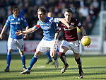 Hearts v St Johnstone&hellip;19.03.16  Tynecastle, Edinburgh<br />Jamie Walker and Chris Millar<br />Picture by Graeme Hart.<br />Copyright Perthshire Picture Agency<br />Tel: 01738 623350  Mobile: 07990 594431