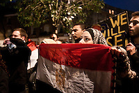 Protester - 2011<br /> <br /> London, 31/01/2011. Egyptian people protest peacefully outside Hosni Mubaraks house in London. The protesters ask President Mubarak to resign, and demand an immediate stop to violence against citizens in Egypt.