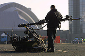 "MILITARY BOMB DISPOSAL, WITH MARK 8 WHEELBARROW MACHINE, OUTSIDE THE ""ARMADILO"" SECC, GLASGOW.,.LABOUR PARTY CONFERENCE, GLASGOW"