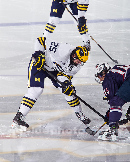 The University of Michigan ice hockey team defeated the United States National Team Development Program Under-18 squad, 3-1, at Yost Ice Arena in Ann Arbor, Mich., on October 3, 2011.