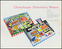 BNPS.co.uk (01202 558833)<br /> Pic: Nestle/BNPS<br /> <br /> ***Please use full byline***<br /> <br /> A box from 1960<br /> <br /> A fascinating archive of vintage selection boxes have emerged to reveal how the common stocking filler was once a luxurious present that families would save all year for.<br /> <br /> The assorted chocolate packs were launched by Rowntrees in the 1920s after the success of their Christmas hampers.<br /> <br /> They were considered as extremely extravagant gifts with an early box from 1927 costing 10 shillings, the equivalent of one weeks rent for a poor, working class family.<br /> <br /> The boxes contained some of the first chocolate bars invented by the company that are no longer in existance, including Nut Cracknel, Cream Tablette, and Motoring bars.<br /> <br /> Families began putting aside money throughout the year to afford the must-have gifts, which became more extravagant as their popularity grew.<br /> <br /> Rowntrees provided newsagents and grocery shops with special Christmas Club Cards which buyers used to pay weekly installments towards the selection boxes.<br /> <br /> In the 1930s Rowntrees began adding novelty items to the packs such as vases, carriage clocks, and cutlery sets, which acted as keepsakes once the chocolate had been eaten.<br /> <br /> They ranged in price from 2 shillings and six pence up to 10 shillings depending on the size of the enclosed gift.