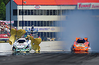 May 5, 2012; Commerce, GA, USA: NHRA funny car drivers Mike Neff (left) and Todd Lesenko fail to qualify during qualifying for the Southern Nationals at Atlanta Dragway. Mandatory Credit: Mark J. Rebilas-