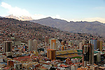 South America, Bolivia, La Paz. Scenic vista of the city of La Paz from Mirador Killi Killi.