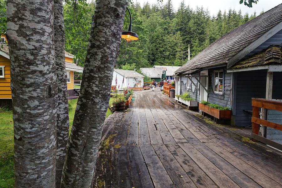 Wharf boardwalk and shops, Telegraph Cove, Vancouver Island, Canada