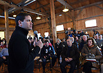 (Hollis, NH, 02/23/15) Possible 2016 Republican presidential hopeful, U.S. Sen. Marco Rubio of Florida, takes questions as he speaks to area residents in a barn in Hollis, N.H. on Monday, February 23, 2015. Staff photo by Christopher Evans
