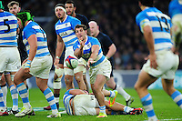 Tomas Cubelli of Argentina passes the ball. Old Mutual Wealth Series International match between England and Argentina on November 26, 2016 at Twickenham Stadium in London, England. Photo by: Patrick Khachfe / Onside Images