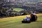 United Kingdom, Great Britain, England, London. Scenic vista of Box Hill, south of London in Surrey, preserved by the National Trust.
