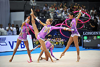 September 12, 2009; Mie, Japan;  (Center) Anzhelika Savrayuk and Italian rhythmic group performs during ropes + ribbons Event Final after earlier winning gold in group All Around the day before at the 2009 World Championships Mie, Japan. Photo by Tom Theobald.