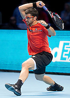 Janko Tipsarevic (SRB) (9) against Tomas Berdych (CZE) (7) in the round robin stage of the Barclays ATP World Tour Finals. ..@AMN IMAGES, Frey, Advantage Media Network, Level 1, Barry House, 20-22 Worple Road, London, SW19 4DH.Tel - +44 208 947 0100.email - mfrey@advantagemedianet.com.www.amnimages.photoshelter.com.
